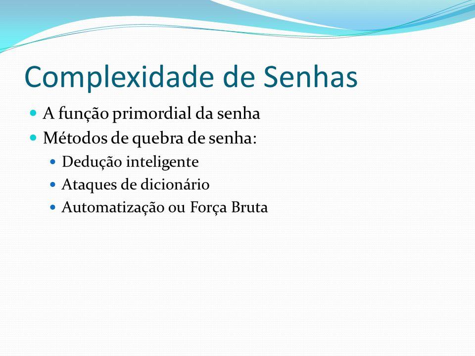 Complexidade de Senhas  A função primordial da senha  Métodos de quebra de senha:  Dedução inteligente  Ataques de dicionário  Automatização ou F