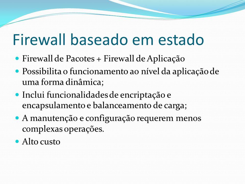 Firewall baseado em estado  Firewall de Pacotes + Firewall de Aplicação  Possibilita o funcionamento ao nível da aplicação de uma forma dinâmica; 