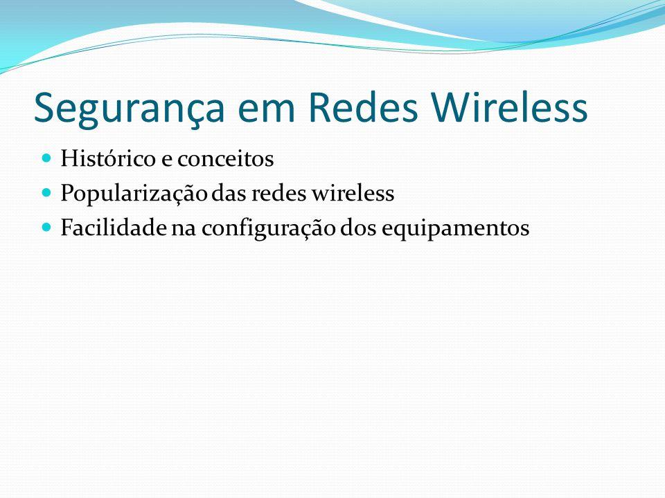 Segurança em Redes Wireless  Histórico e conceitos  Popularização das redes wireless  Facilidade na configuração dos equipamentos