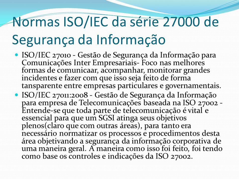 Normas ISO/IEC da série 27000 de Segurança da Informação  ISO/IEC 27010 - Gestão de Segurança da Informação para Comunicações Inter Empresariais- Foc