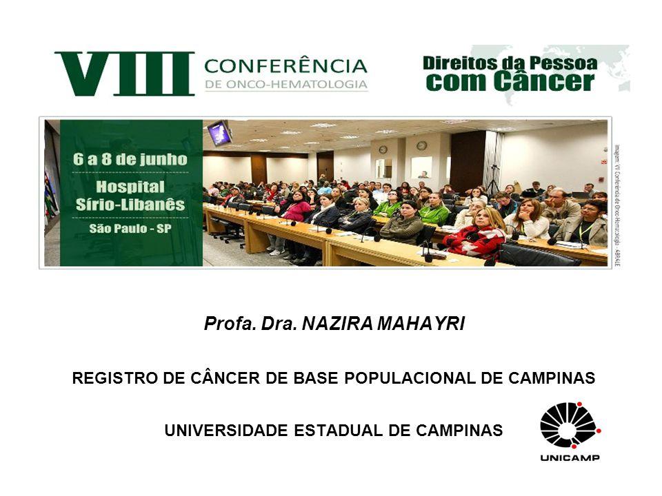 Profa. Dra. NAZIRA MAHAYRI REGISTRO DE CÂNCER DE BASE POPULACIONAL DE CAMPINAS UNIVERSIDADE ESTADUAL DE CAMPINAS