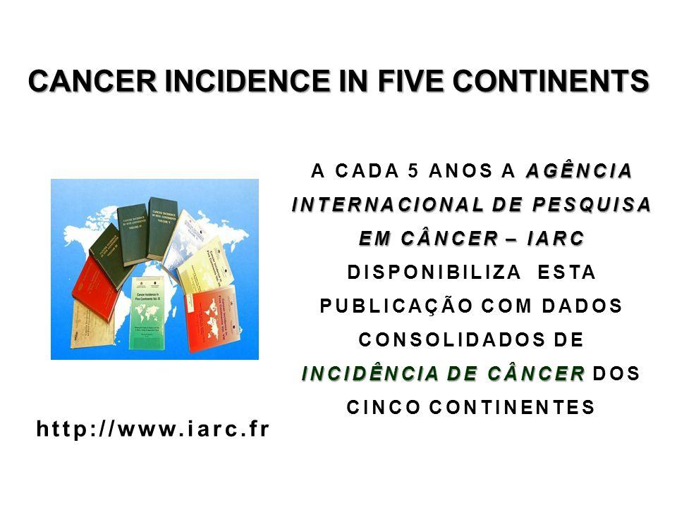 CANCER INCIDENCE IN FIVE CONTINENTS AGÊNCIA INTERNACIONAL DE PESQUISA EM CÂNCER – IARC INCIDÊNCIA DE CÂNCER A CADA 5 ANOS A AGÊNCIA INTERNACIONAL DE P