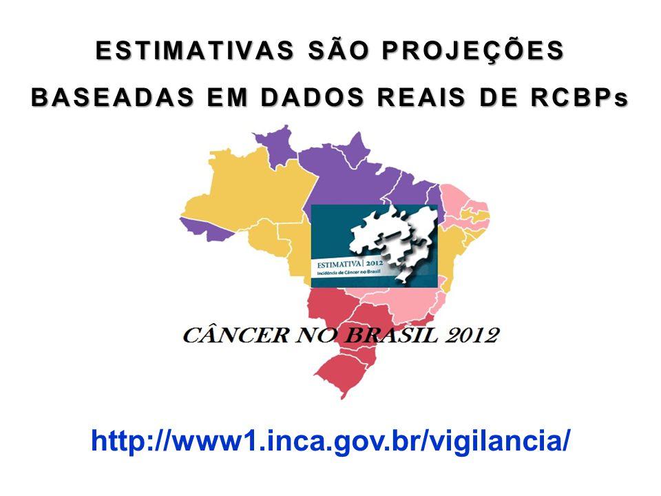 ESTIMATIVAS SÃO PROJEÇÕES BASEADAS EM DADOS REAIS DE RCBPs http://www1.inca.gov.br/vigilancia/