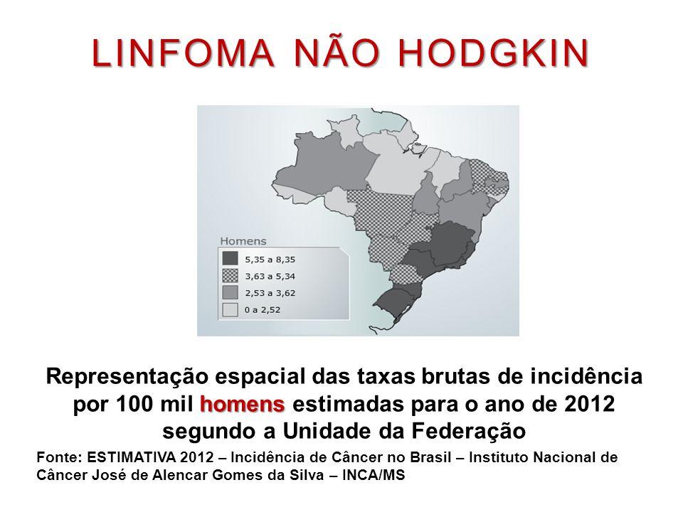 LINFOMA NÃO HODGKIN homens Representação espacial das taxas brutas de incidência por 100 mil homens estimadas para o ano de 2012 segundo a Unidade da