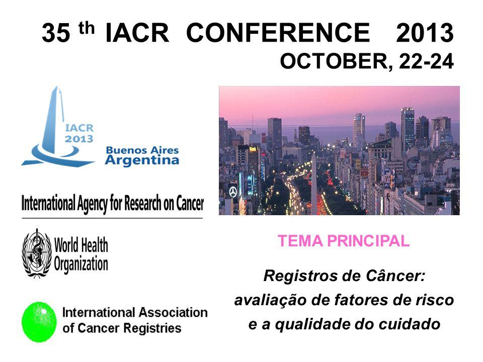 35 th IACR CONFERENCE 2013 OCTOBER, 22-24 TEMA PRINCIPAL Registros de Câncer: avaliação de fatores de risco e a qualidade do cuidado
