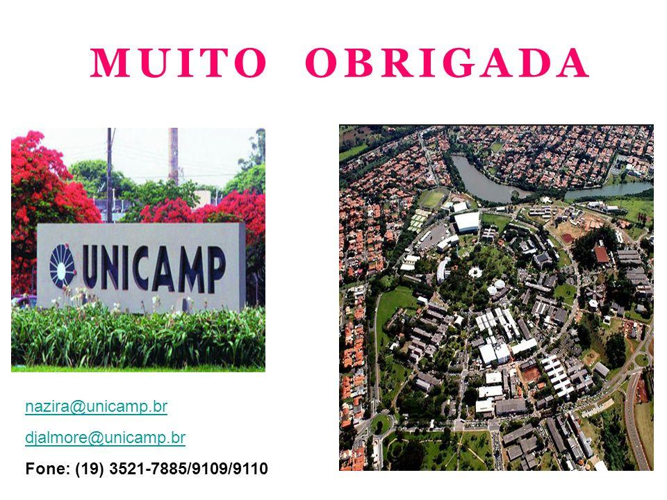 MUITO OBRIGADA nazira@unicamp.br djalmore@unicamp.br Fone: (19) 3521-7885/9109/9110