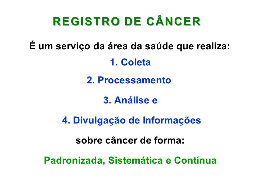 REGISTRO DE CÂNCER É um serviço da área da saúde que realiza: 1. Coleta 2. Processamento 3. Análise e 4. Divulgação de Informações sobre câncer de for