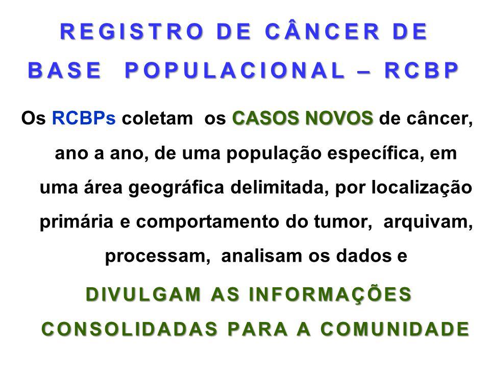 REGISTRO DE CÂNCER DE BASE POPULACIONAL – RCBP CASOS NOVOS Os RCBPs coletam os CASOS NOVOS de câncer, ano a ano, de uma população específica, em uma á