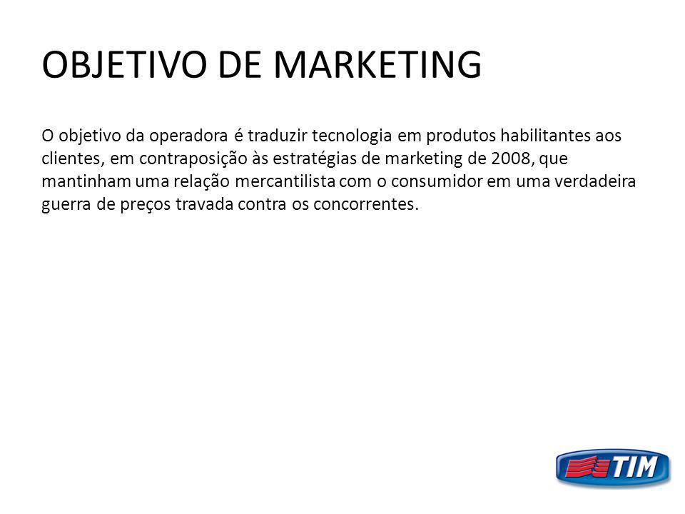 OBJETIVO DE MARKETING O objetivo da operadora é traduzir tecnologia em produtos habilitantes aos clientes, em contraposição às estratégias de marketin