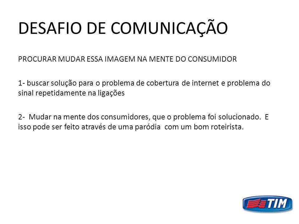 DESAFIO DE COMUNICAÇÃO PROCURAR MUDAR ESSA IMAGEM NA MENTE DO CONSUMIDOR 1- buscar solução para o problema de cobertura de internet e problema do sina