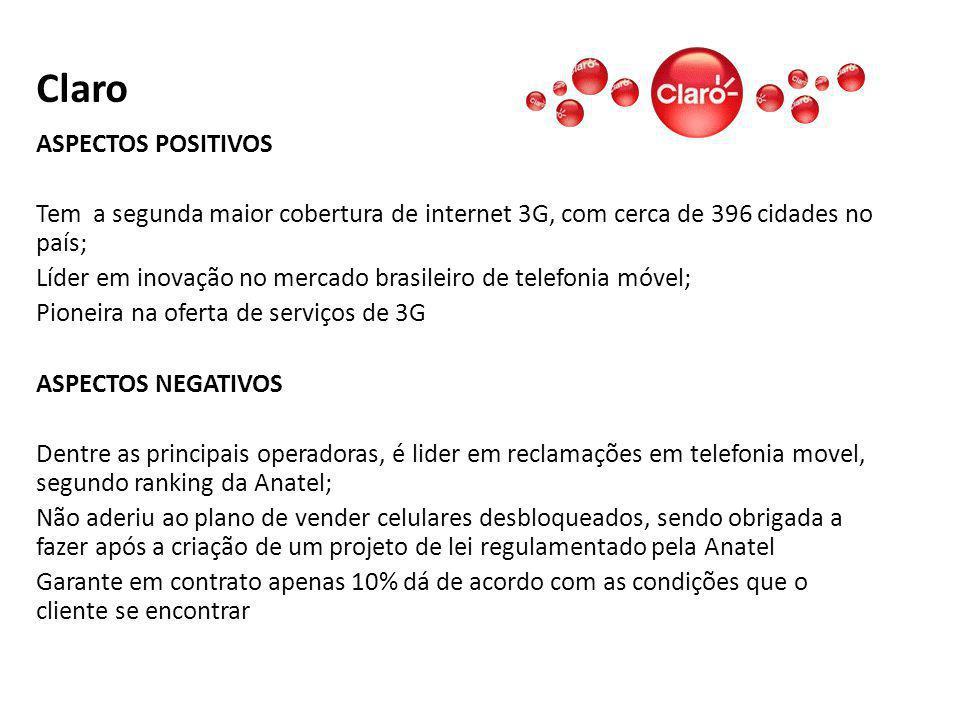 Claro ASPECTOS POSITIVOS Tem a segunda maior cobertura de internet 3G, com cerca de 396 cidades no país; Líder em inovação no mercado brasileiro de te