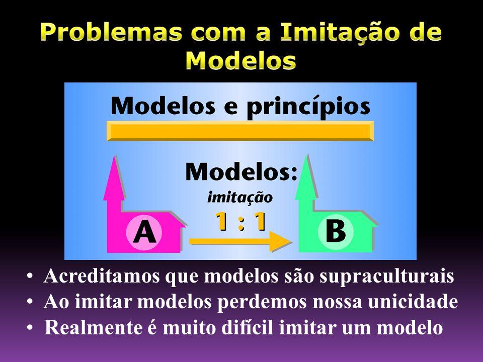 • Acreditamos que modelos são supraculturais • Ao imitar modelos perdemos nossa unicidade • Realmente é muito difícil imitar um modelo