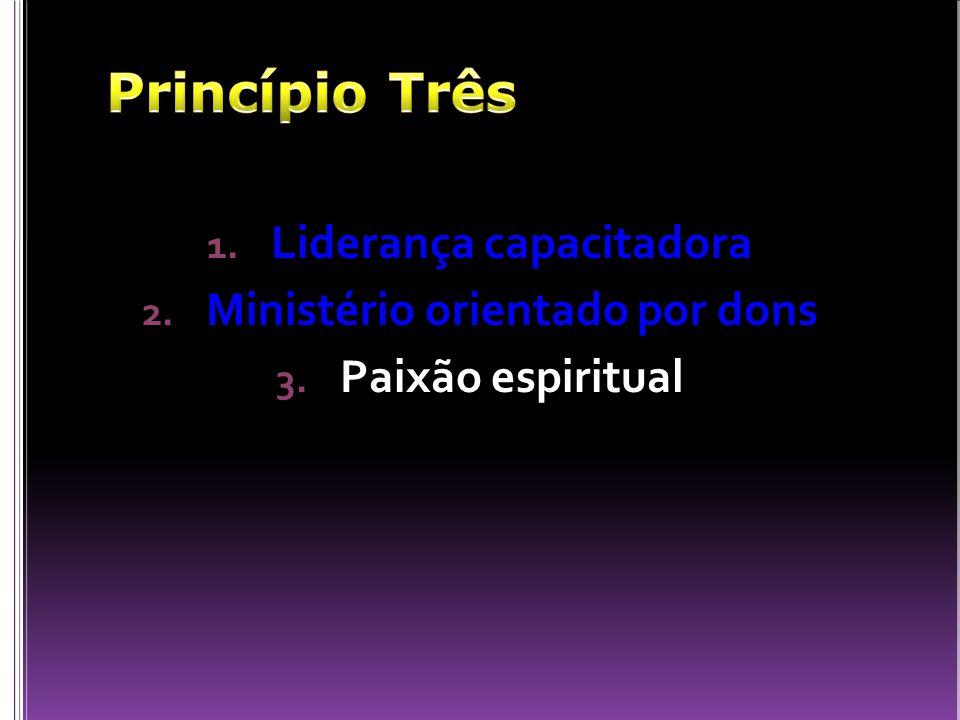 1. Liderança capacitadora 2. Ministério orientado por dons 3. Paixão espiritual