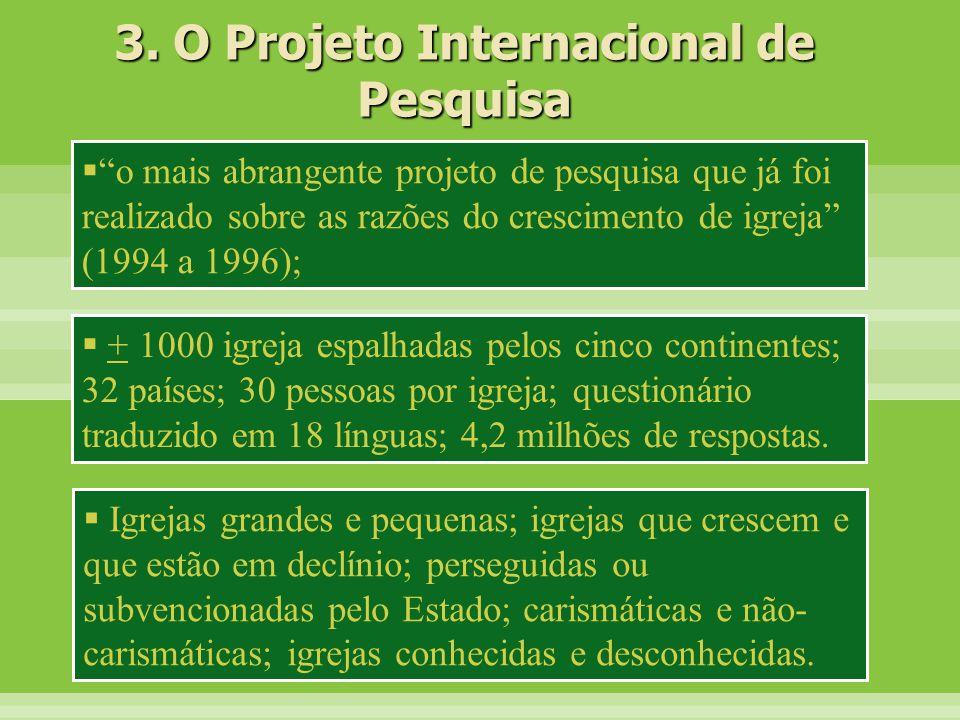 """ """"o mais abrangente projeto de pesquisa que já foi realizado sobre as razões do crescimento de igreja"""" (1994 a 1996); 3. O Projeto Internacional de P"""