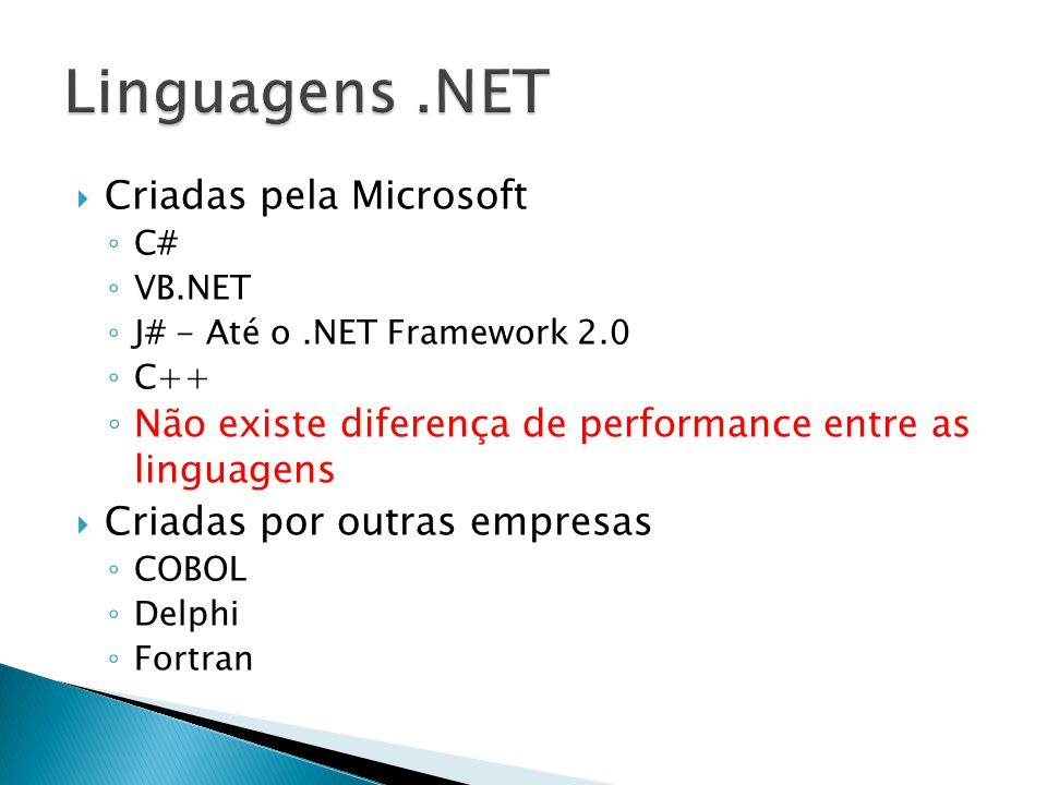  Criadas pela Microsoft ◦ C# ◦ VB.NET ◦ J# - Até o.NET Framework 2.0 ◦ C++ ◦ Não existe diferença de performance entre as linguagens  Criadas por outras empresas ◦ COBOL ◦ Delphi ◦ Fortran