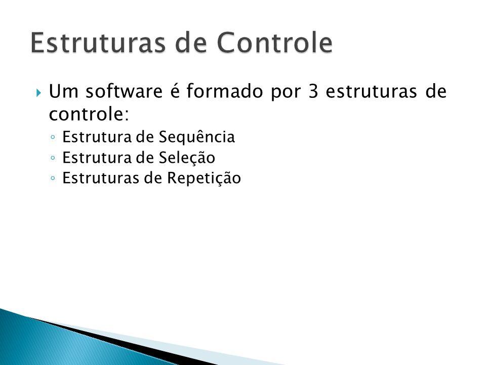  Um software é formado por 3 estruturas de controle: ◦ Estrutura de Sequência ◦ Estrutura de Seleção ◦ Estruturas de Repetição