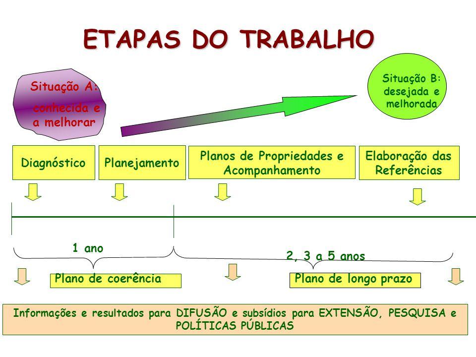 Informações e resultados para DIFUSÃO e subsídios para EXTENSÃO, PESQUISA e POLÍTICAS PÚBLICAS ETAPAS DO TRABALHO Diagnóstico Planos de Propriedades e Acompanhamento Elaboração das Referências Situação A: conhecida e a melhorar Situação B: desejada e melhorada Planejamento 1 ano 2, 3 a 5 anos Plano de coerência Plano de longo prazo