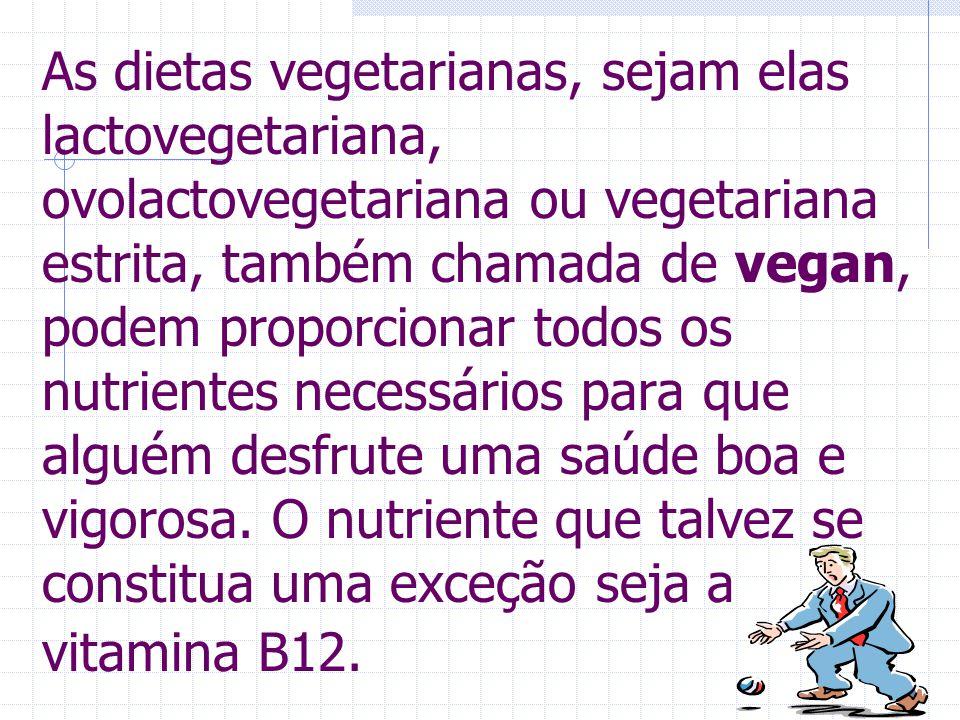 B12- A VITAMINA QUE FALTA Como a dieta estritamente vegetariana não contém produtos de origem animal, a vitamina B12 deve ser conseguida em outras fon