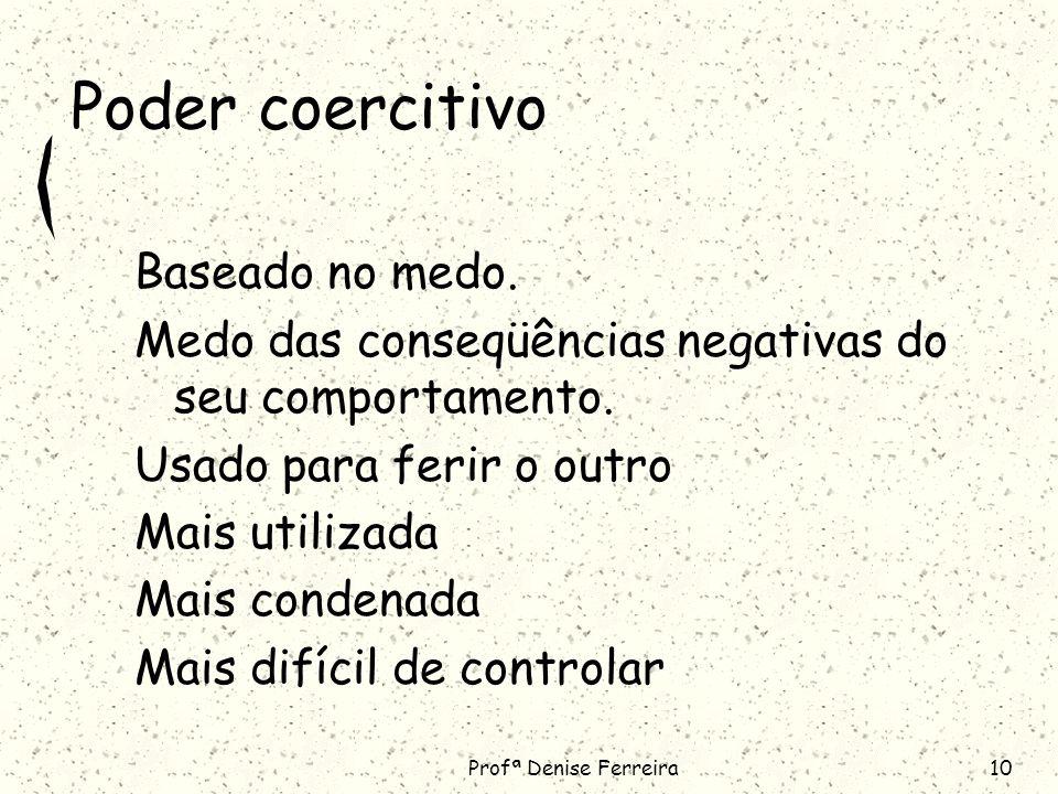 Profª Denise Ferreira10 Poder coercitivo Baseado no medo.