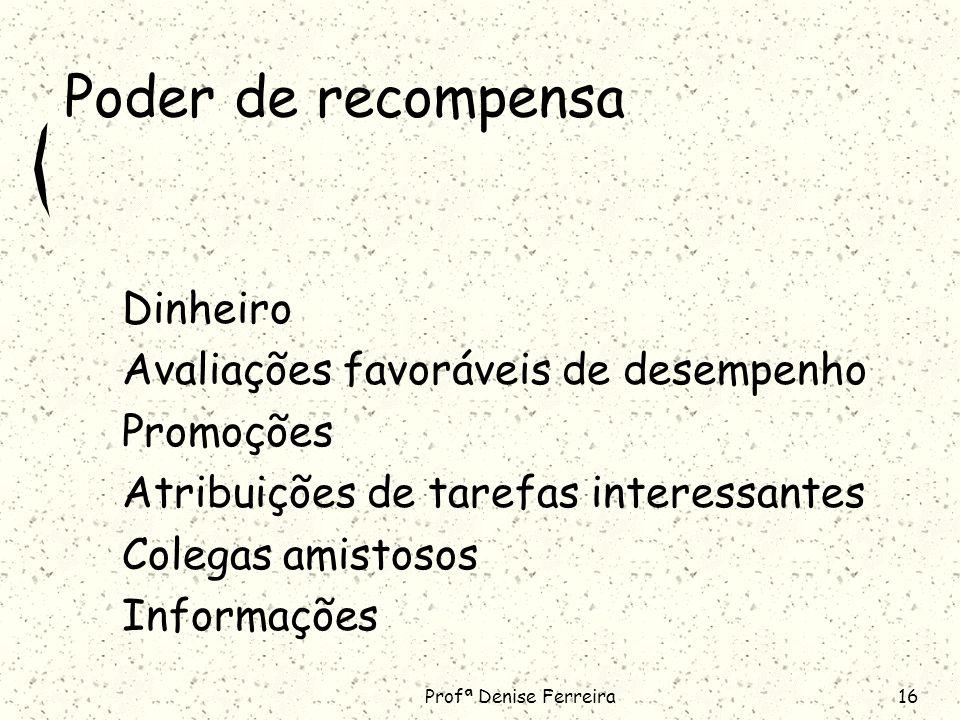 Profª Denise Ferreira16 Poder de recompensa Dinheiro Avaliações favoráveis de desempenho Promoções Atribuições de tarefas interessantes Colegas amistosos Informações