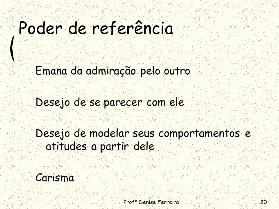 Profª Denise Ferreira20 Poder de referência Emana da admiração pelo outro Desejo de se parecer com ele Desejo de modelar seus comportamentos e atitudes a partir dele Carisma