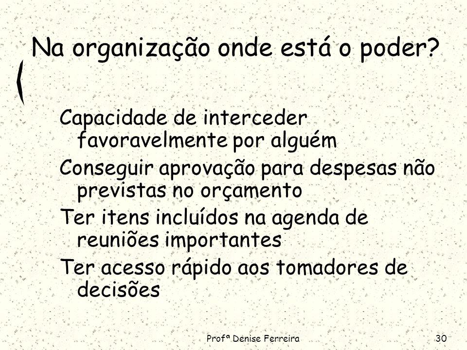 Profª Denise Ferreira30 Na organização onde está o poder.