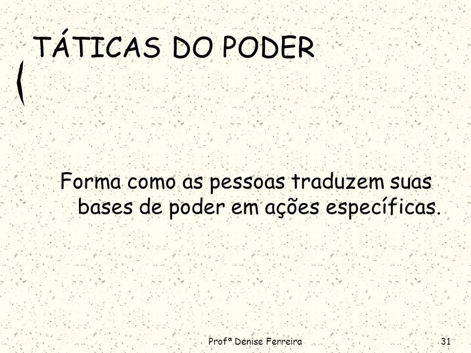 Profª Denise Ferreira31 TÁTICAS DO PODER Forma como as pessoas traduzem suas bases de poder em ações específicas.