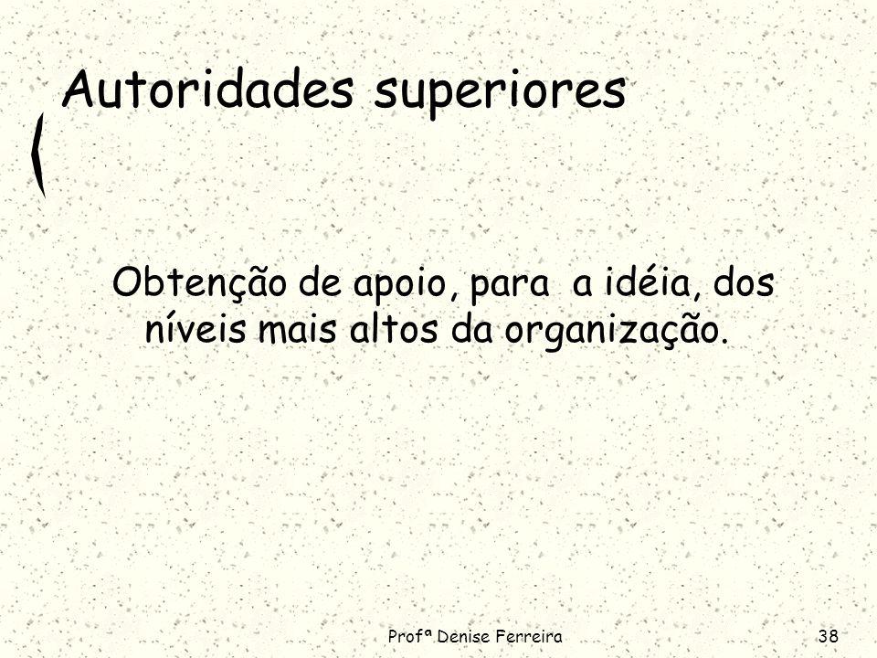 Profª Denise Ferreira38 Autoridades superiores Obtenção de apoio, para a idéia, dos níveis mais altos da organização.