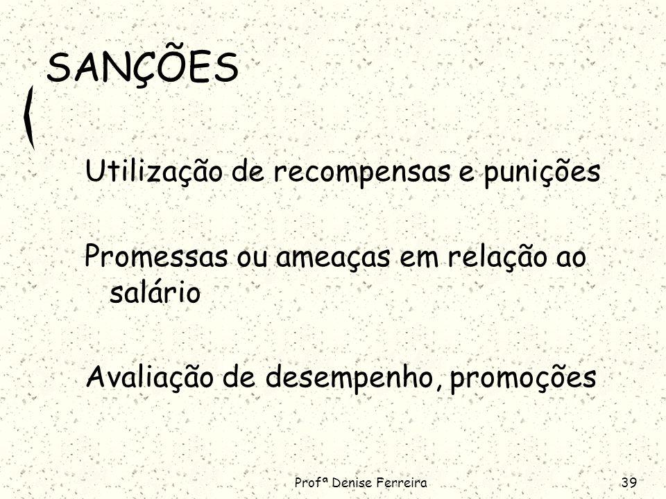 Profª Denise Ferreira39 SANÇÕES Utilização de recompensas e punições Promessas ou ameaças em relação ao salário Avaliação de desempenho, promoções
