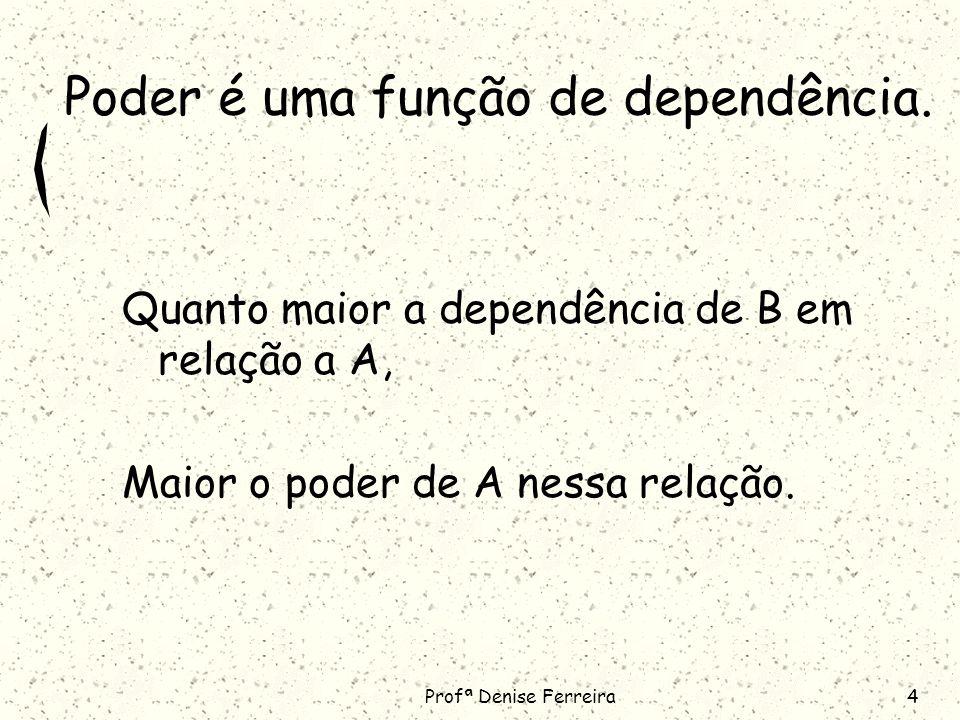 Profª Denise Ferreira4 Poder é uma função de dependência.