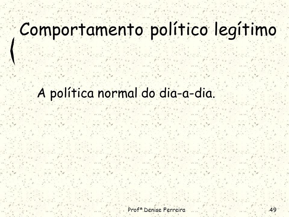 Profª Denise Ferreira49 Comportamento político legítimo A política normal do dia-a-dia.
