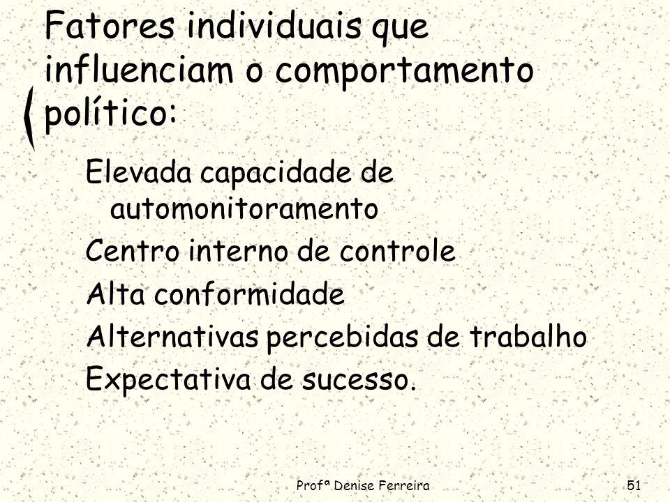 Profª Denise Ferreira51 Fatores individuais que influenciam o comportamento político: Elevada capacidade de automonitoramento Centro interno de controle Alta conformidade Alternativas percebidas de trabalho Expectativa de sucesso.