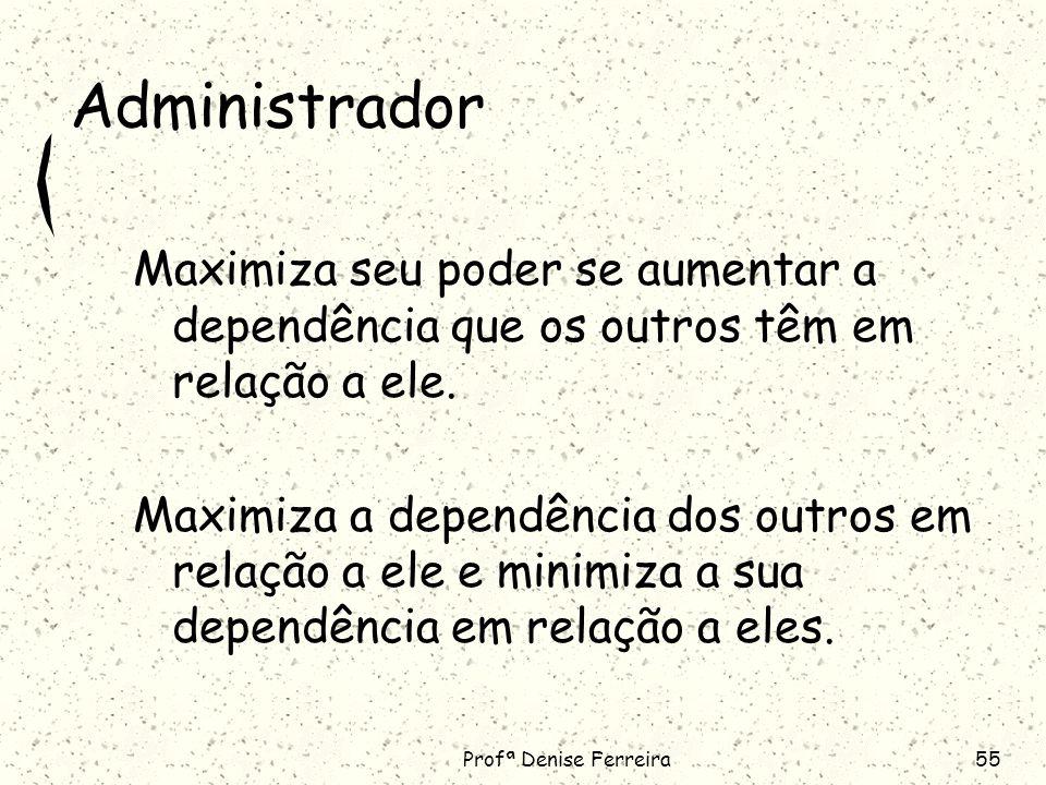 Profª Denise Ferreira55 Administrador Maximiza seu poder se aumentar a dependência que os outros têm em relação a ele.