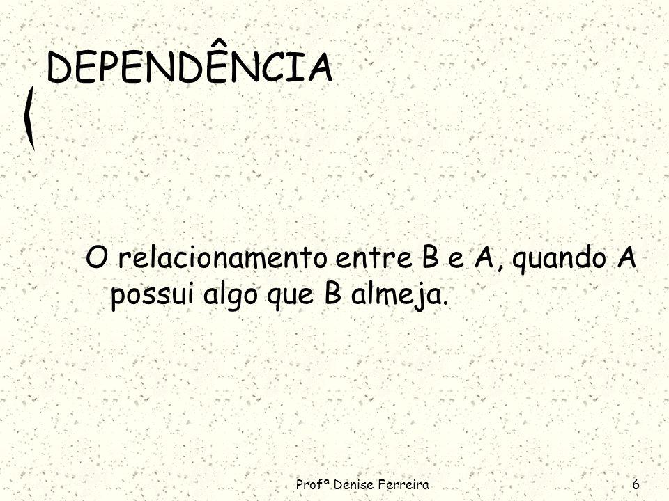 Profª Denise Ferreira6 DEPENDÊNCIA O relacionamento entre B e A, quando A possui algo que B almeja.