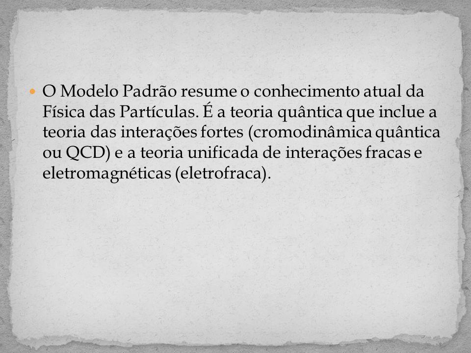  O Modelo Padrão resume o conhecimento atual da Física das Partículas. É a teoria quântica que inclue a teoria das interações fortes (cromodinâmica q