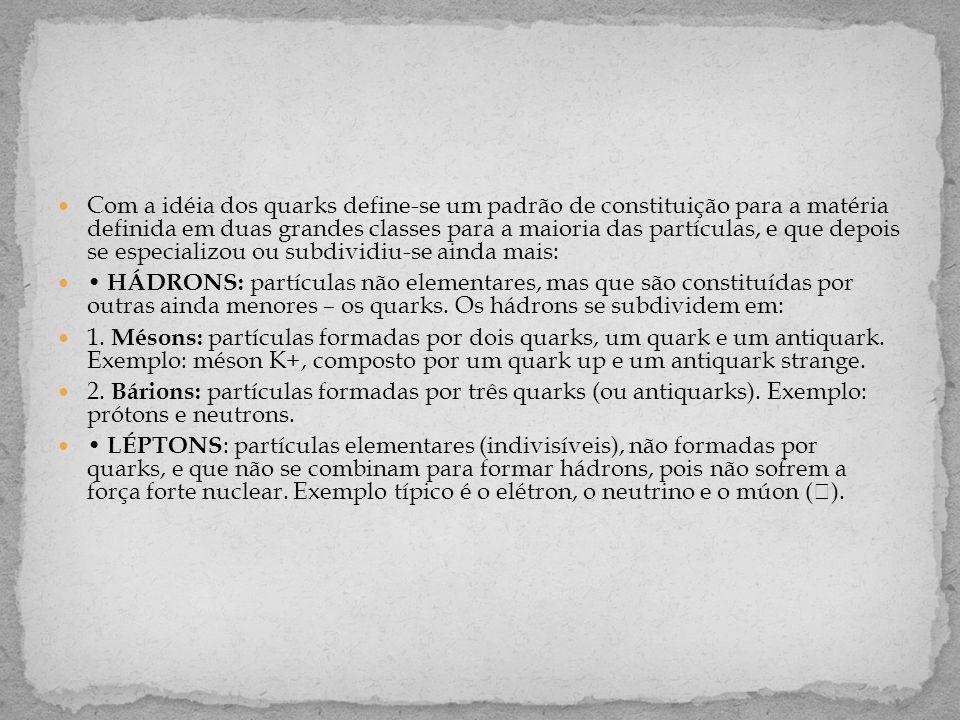 Com a idéia dos quarks define-se um padrão de constituição para a matéria definida em duas grandes classes para a maioria das partículas, e que depois se especializou ou subdividiu-se ainda mais:  • HÁDRONS: partículas não elementares, mas que são constituídas por outras ainda menores – os quarks.
