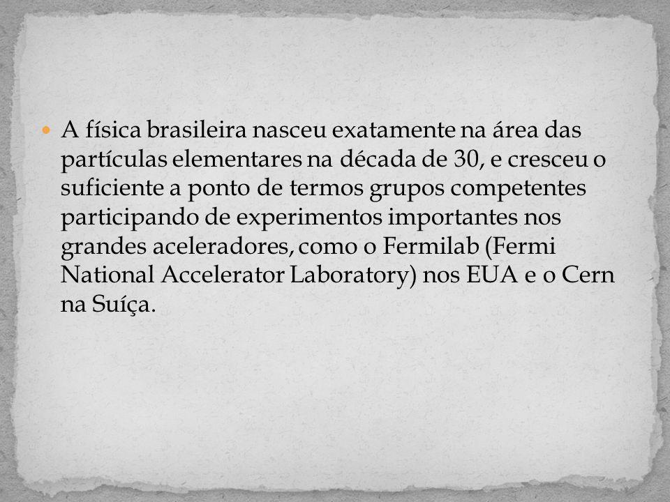  A física brasileira nasceu exatamente na área das partículas elementares na década de 30, e cresceu o suficiente a ponto de termos grupos competentes participando de experimentos importantes nos grandes aceleradores, como o Fermilab (Fermi National Accelerator Laboratory) nos EUA e o Cern na Suíça.