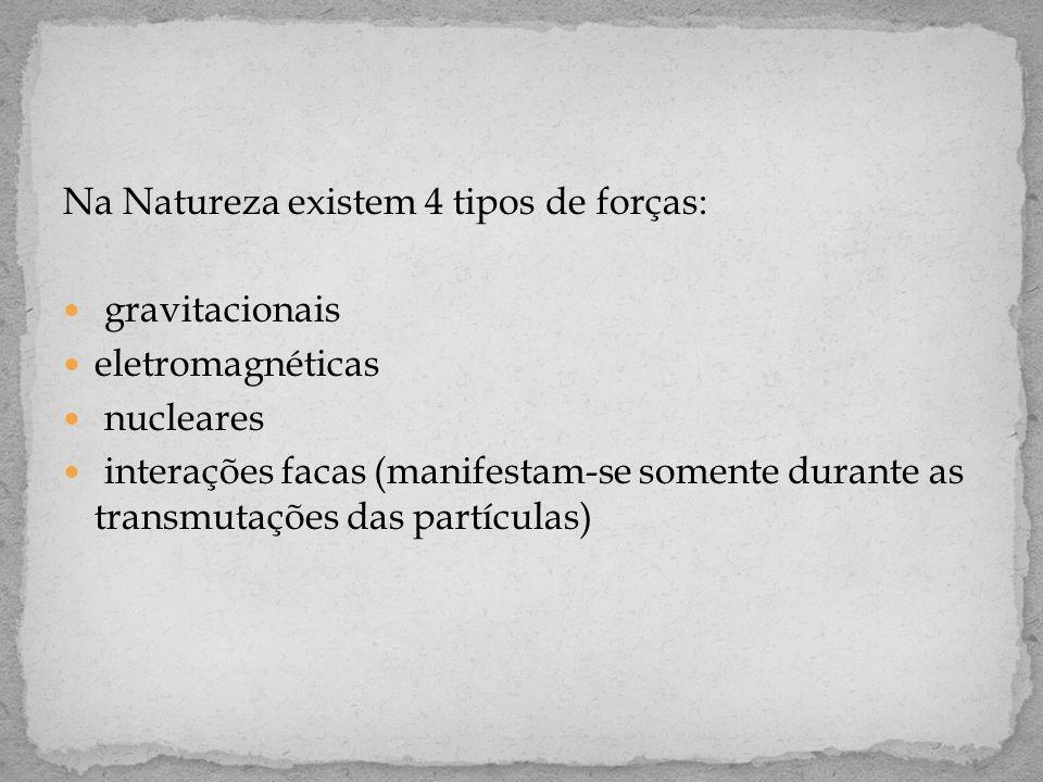 Na Natureza existem 4 tipos de forças:  gravitacionais  eletromagnéticas  nucleares  interações facas (manifestam-se somente durante as transmutações das partículas)