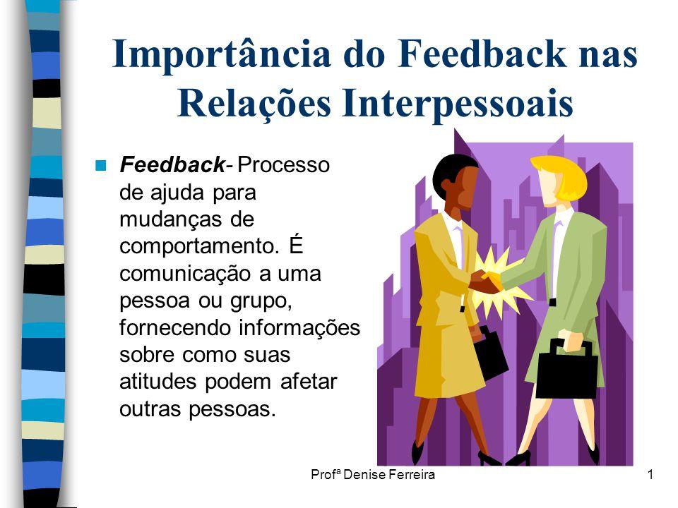 Profª Denise Ferreira1 Importância do Feedback nas Relações Interpessoais  Feedback- Processo de ajuda para mudanças de comportamento. É comunicação