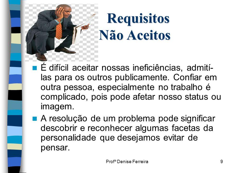 Profª Denise Ferreira9 Requisitos Não Aceitos Requisitos Não Aceitos  É difícil aceitar nossas ineficiências, admití- las para os outros publicamente