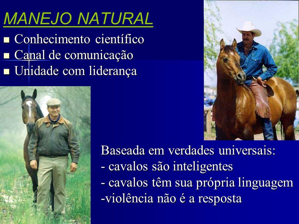 MANEJO NATURAL  Conhecimento científico  Canal de comunicação  Unidade com liderança Baseada em verdades universais: - cavalos são inteligentes - c