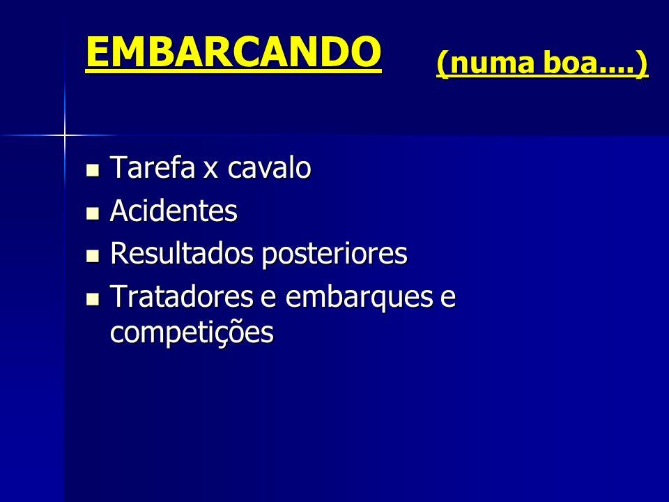 EMBARCANDO  Tarefa x cavalo  Acidentes  Resultados posteriores  Tratadores e embarques e competições (numa boa....)