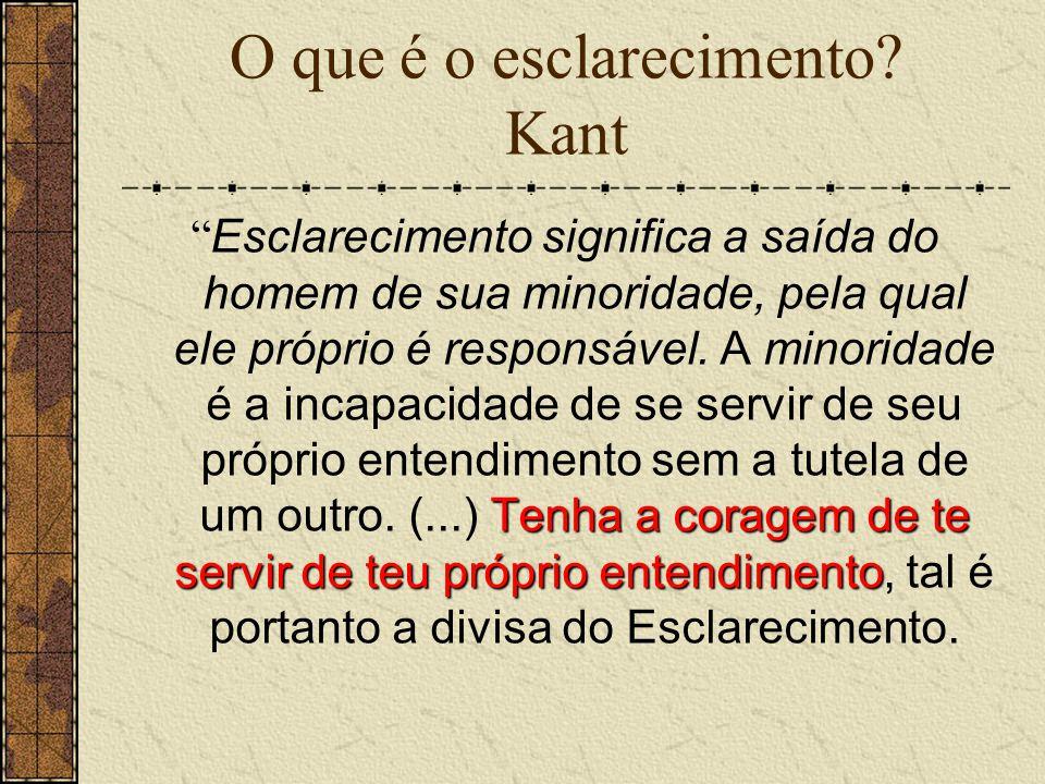 """O que é o esclarecimento? Kant Tenha a coragem de te servir de teu próprio entendimento """" Esclarecimento significa a saída do homem de sua minoridade,"""