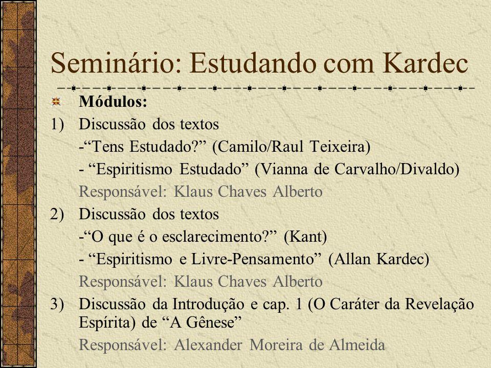 """Módulos: 1)Discussão dos textos -""""Tens Estudado?"""" (Camilo/Raul Teixeira) - """"Espiritismo Estudado"""" (Vianna de Carvalho/Divaldo) Responsável: Klaus Chav"""