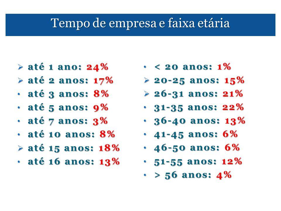 Tempo de empresa e faixa etária  até 1 ano: 24%  até 2 anos: 17% • até 3 anos: 8% • até 5 anos: 9% • até 7 anos: 3% • até 10 anos: 8%  até 15 anos: 18% • até 16 anos: 13% • < 20 anos: 1%  20-25 anos: 15%  26-31 anos: 21% • 31-35 anos: 22% • 36-40 anos: 13% • 41-45 anos: 6% • 46-50 anos: 6% • 51-55 anos: 12% • > 56 anos: 4%