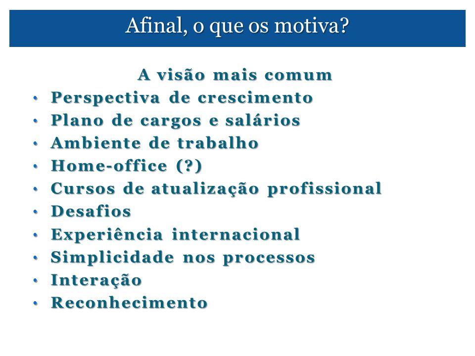Afinal, o que os motiva? A visão mais comum • Perspectiva de crescimento • Plano de cargos e salários • Ambiente de trabalho • Home-office (?) • Curso