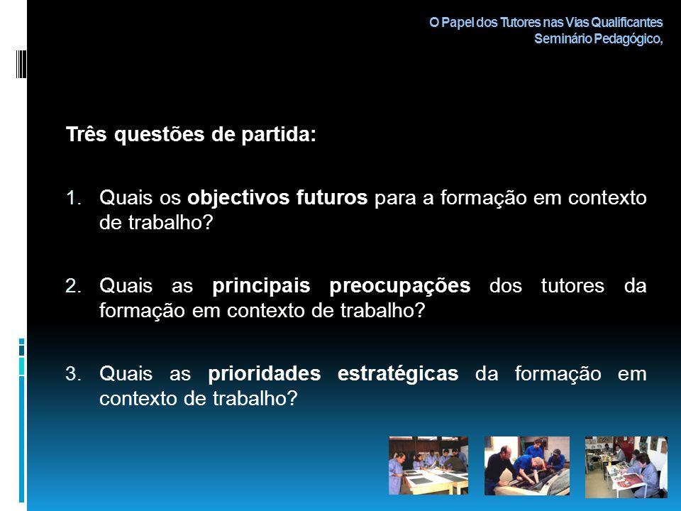 O Papel dos Tutores nas Vias Qualificantes Seminário Pedagógico, Três questões de partida: 1.