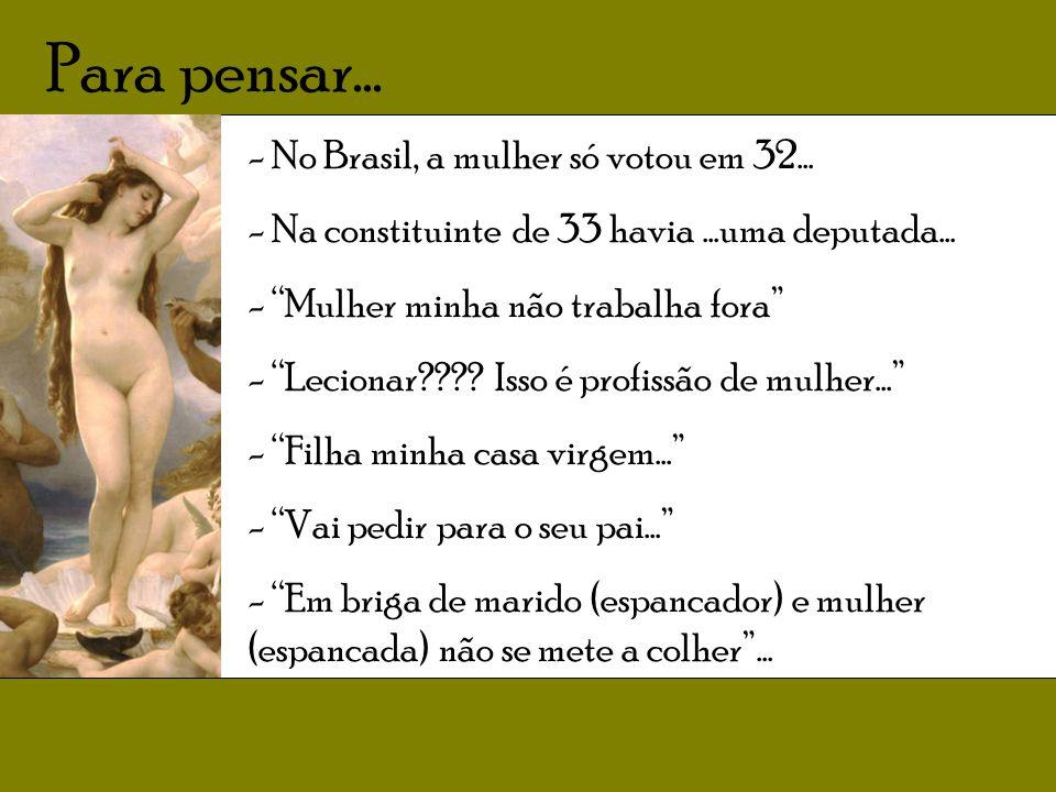 Para pensar...- No Brasil, a mulher só votou em 32...