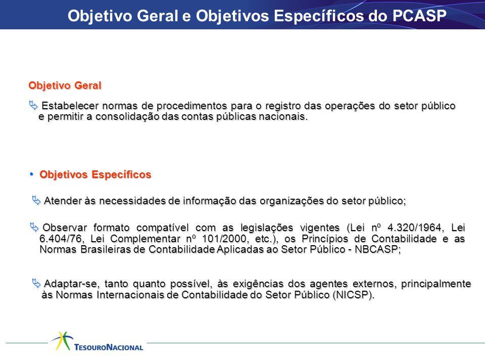 • Objetivos Específicos Objetivo Geral  Estabelecer normas de procedimentos para o registro das operações do setor público e permitir a consolidação