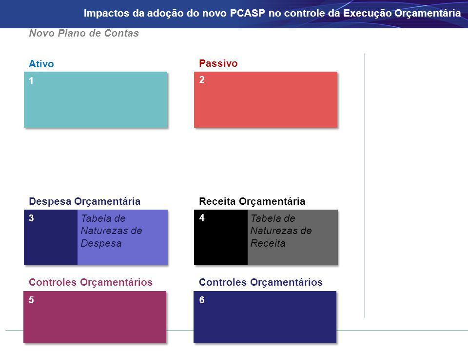 Ativo Passivo 1 2 3 Despesa OrçamentáriaReceita Orçamentária 4 Tabela de Naturezas de Despesa Tabela de Naturezas de Receita Novo Plano de Contas Controles Orçamentários 56 Impactos da adoção do novo PCASP no controle da Execução Orçamentária